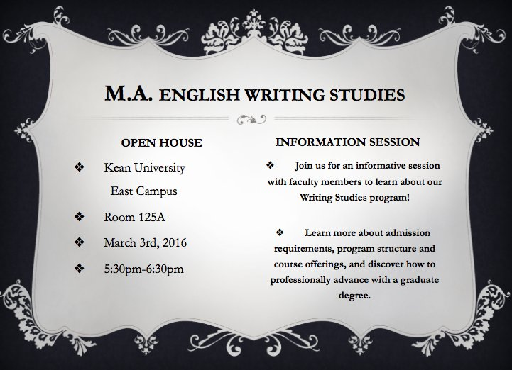 Writing Studies Information Session 3/3 @ 5:30PM